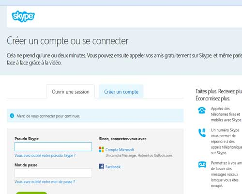 connection login skype