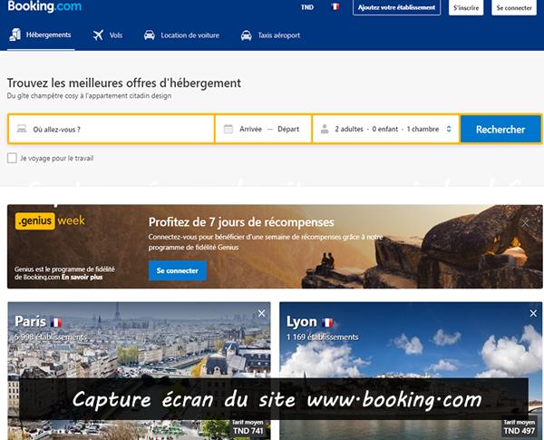 site de voyage www.booking.com