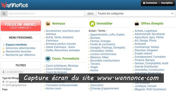 adresse du site d'annonces : www.wannonce.com