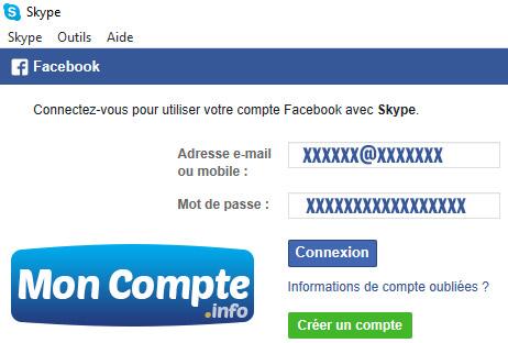 Se connecter Skype avec Facebook