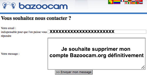 Supprimer un compte Bazoocam
