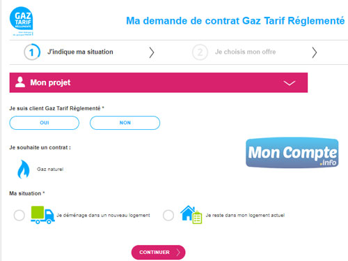 demande de contrat Gaz Tarif Réglementé