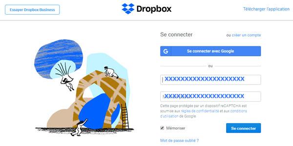 Dropbox Connexion , login