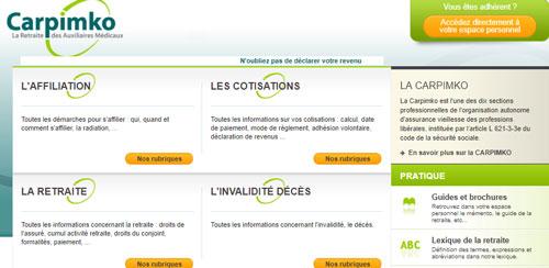www.carpimko.com site caisse retraite et prévoyance