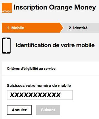 s'inscrire sur compte Orange Money en ligne