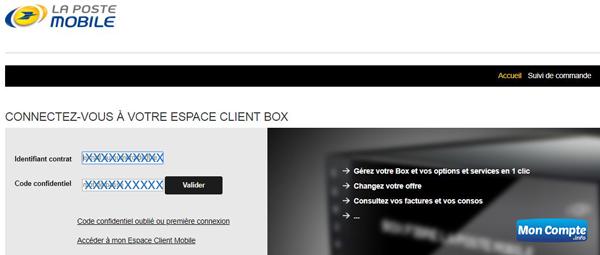Espace Client la poste mobile Box