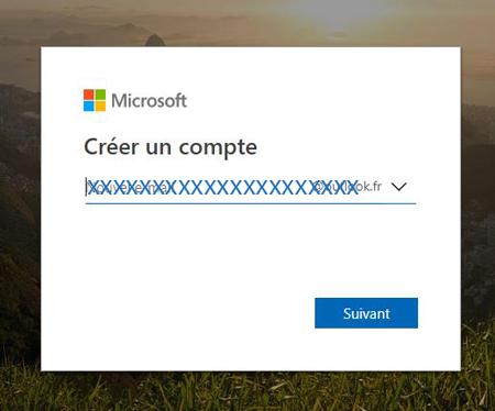 créer un compte Outlook messagerie