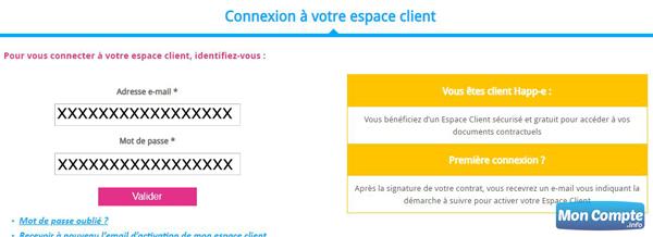 connexion Mon Espace ClientHapp e