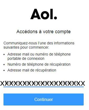 problème de connexion sur mail.aol.fr