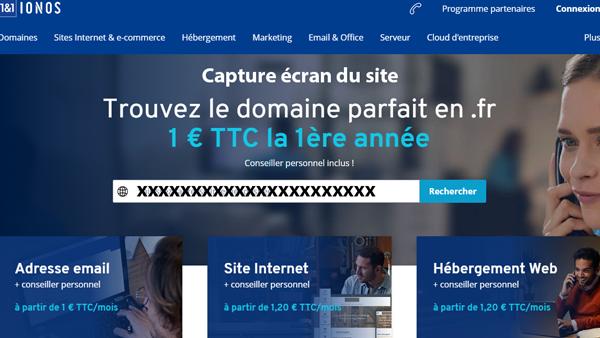 accès hébergeur sur le site www.ionos.fr