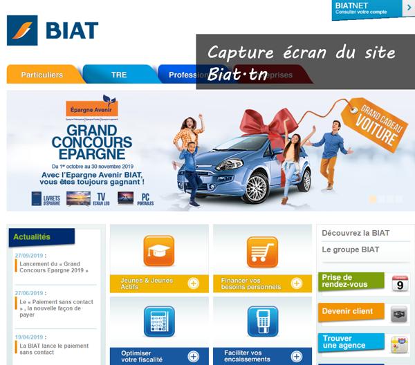 Consulter mon compte Biatnet en ligne sur le site biat.tn