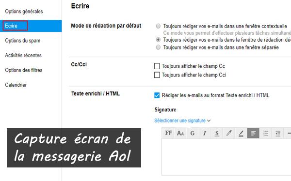 création d'une signature électronique avec AOL Mail/AIM Mail