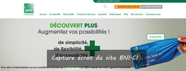 """site de la Banque Nationale d'Investissement Côte d'ivoire """"www.bni.ci"""""""