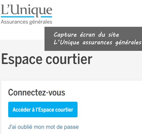 étapes d'accès à l'espace courtier L'Unique assurances en ligne