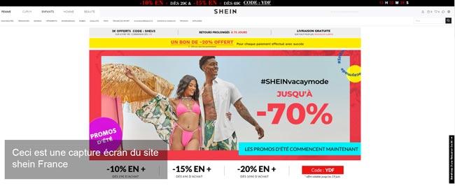 le site du magasin chinois shein en France