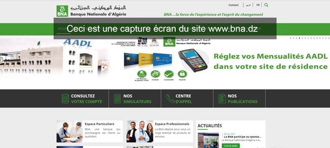 www.bna.dz consultation compte en ligne