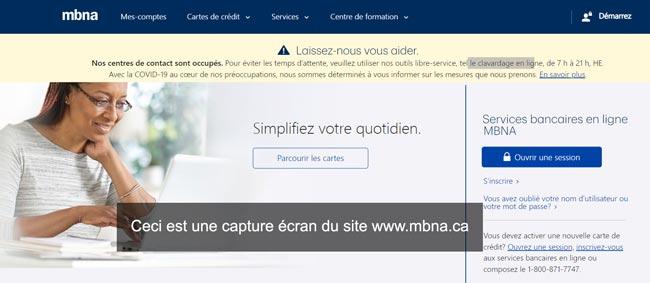 www.mbna.ca : site de la banque